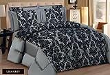 New Kelly Damask - Juego de ropa de cama de 3 piezas con colcha de cama, color gris plata y negro, de lujo, Súper suave , poliéster, Silver Grey Black, King (240cm X 260cm)