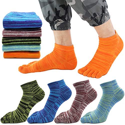 MOAMUN 5 Pares De Primavera Cinco Dedos Dedo Del Pie Calcetines Para Hombres Mujeres Algodón, Damas Calcetines De Tobillo De Corte Bajo Suaves Y Transpirables (Hombres)