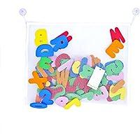 [Patrocinado]Pazzi Letras Baño Números de Espuma 36-piezas Alfabeto Juguetes Baño para Bebés con Red Organizador de Juguete Baño (45x35cm)