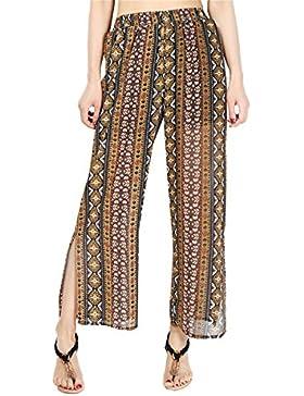 BLACKMYTH Mujer Suelto Casual Gasa Pants Cintura Alta Split Pierna ancha Impreso Largo Pantalones