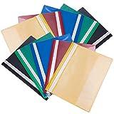 File Folders 10 Pack Assorted A4 couleur projet dossier de présentation de document rapport plat fichier plastique léger avant clair pour l'école, bureau (foncé, vert, bleu, rouge, jaune