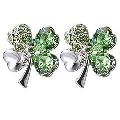 Idea Regalo - TAOTAOHAS donna elementi di swarovski cristallo ciondoli orecchino di goccia [ dolce quadrifoglio, peridoto ], 18KGP