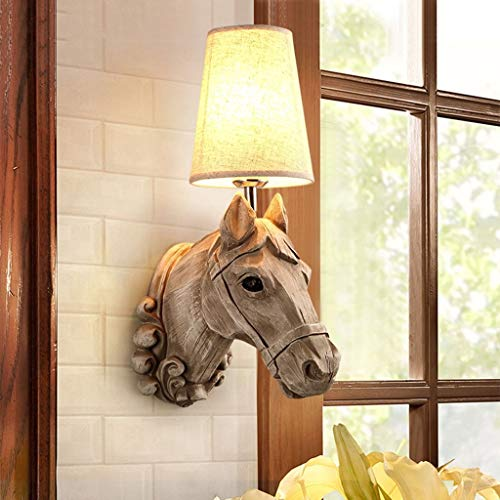 Xswzaq americano resina testa di cavallo personalità illuminazione soggiorno camera da letto principale hotel front desk vetrinetta da comodino lampada da parete