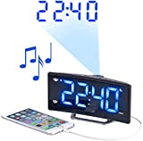 auvisio Funk Radio Wecker: Projektions-Radiowecker mit Curved-Display, Dual-Alarm & USB-Ladeport (Funkwecker mit Projektion)