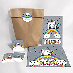 6-Set Einladungskarten, Umschläge, Tüten, Aufkleber zum Kindergeburtstag für Mädchen Katze-Einhorn / bunte Einladungen