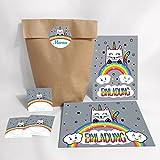 12-er Set Einladungskarten, Umschläge, Tüten, Aufkleber zum Kindergeburtstag für Mädchen Katze-Einhorn / bunte Einladungen (12 Karten + 12 Umschläge + 12 Party-Tüten (Kreuzbodenbeutel) + 12 Aufkleber)