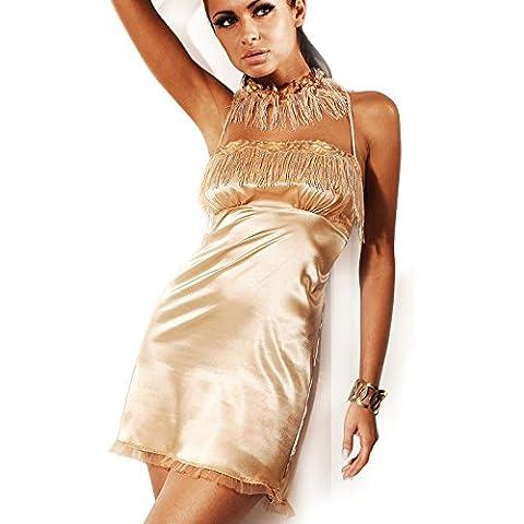 727 MIRAN dispiacerà perenne lusso camicia da notte in raso, Baby Doll Lingerie negligé predatori vestimento, color crema, oro