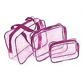 Beauty Case da Viaggio, Trousse Trasparente, Busta da Viaggio?3 in 1 sacchetti di trucco & sacchetti di plastica sacchetto di plastica trasparente borsa di spazzola del PVC Set Viaggio Kit (Rosa)