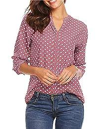Hoverwin Blusa para Mujer Elegante Manga Larga Cuello V Gasa Impresión de  Lunares Camisetas Tops Pullover 47316b3e76e