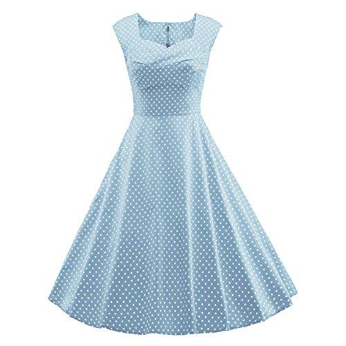 LUOUSE Audrey Hepburn Style Damen Vintage Rockabilly Swing Evening Kleid,DotLightBlue,L