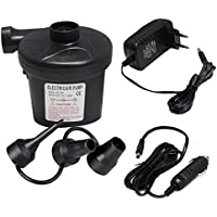 Pompe à air électrique, Pompe électrique + 3 Embouts pour Tuyau Air Matelas, Bateaux, Matelas, ou de Camping sur de et Dégonflage DC12 V/AC 220 V Automatique et Rapide