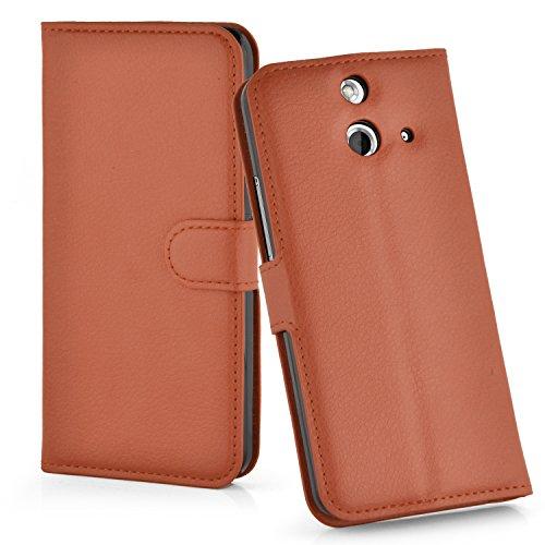 Cadorabo Hülle für HTC One E8 Hülle in Schoko braun Handyhülle mit Kartenfach und Standfunktion Case Cover Schutzhülle Etui Tasche Book Klapp Style Schoko-Braun