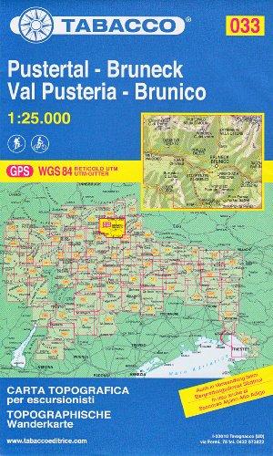 33 Pustertal – Bruneck, Val Pusteria – Brunico, 1:25.000 randonnée topographique, le cyclisme et le ski de randonnée carte (Dolomites, Alpes)