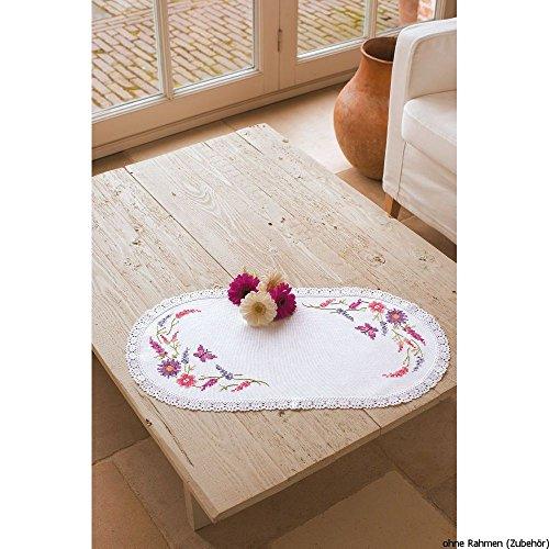 Vervaco Tischdecke Wildblumen bedruckte Deckchen mit Spitze und Garn, Baumwolle, Mehrfarbig, 30.0 x 60.0 x 0.30000000000000004 cm, 1 Einheiten (Baumwolle, Spitze Garn,)