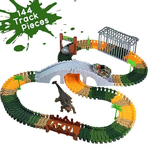 Official Dinosaurios Circuito Coches Juguetes Pista Coches Niños con 144 Piezas y LED Coche Simulación Serie de Dinosaurios La Pista Niños para 3 4 5+