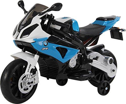 RunRunToys-Moto BMW eléctrica 12v con Luces led para niños a Partir de 3 años con Asiento de Piel y Ruedas de Goma eva, Color Azul y Blanco (Herrajes Multimec 4021)