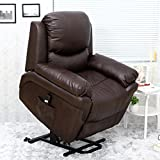 More4Homes MADISON ELECTRIC RISE RECLINER BONDED LEATHER ARMCHAIR SOFA HOME LOUNGE CHAIR (Brown)