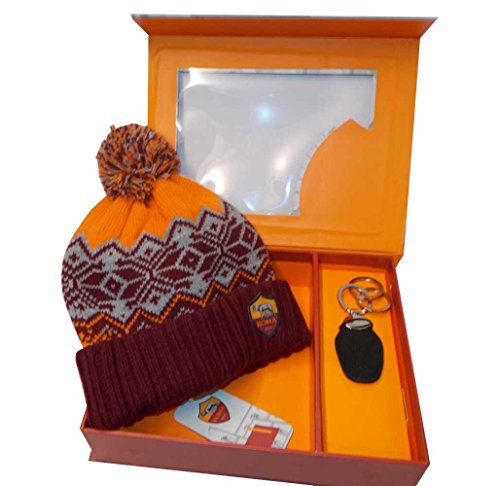 AS ROMA PARURE REGALO CAPPELLO SKIPPER POM PON JAQUARD + PORTACHIAVI ORIGINALE by CASTELLANO 16272