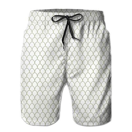 Men Swim Trunks Beach Shorts,Ocean Sea Life Fish Flake Style Geometric Round Wavy Shapes Modern Design L -