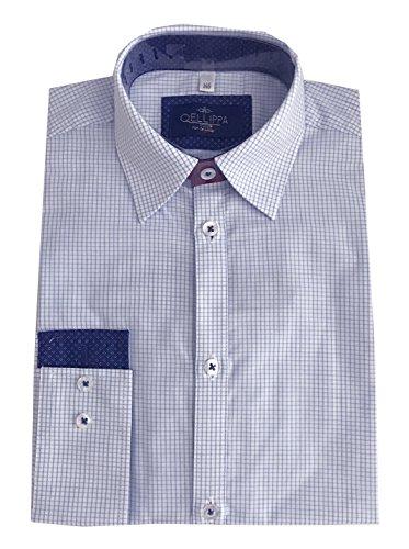 Helgas Modewelt Jungs Hemd Zum Kommunionanzug, Oberhemd Aus Baumwolle, Weiß-Blau, Gr. Slim 146