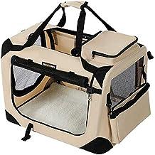 FEANDREA Bolsa de Transporte para Mascotas Transportín Plegable para Perro Portador Tela Oxford Beige M 60