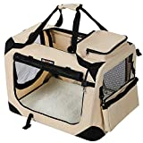 FEANDREA Lightweight Fabric Pet Carrier, Crate with Mat Food Bag, Portable Dog Carrier, Folding Pet Cage, Beige, M 60 x 40 x 40 cm PDC60W