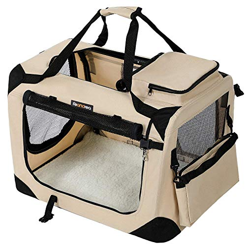 FEANDREA Hundebox Transportbox Auto Hundetransportbox faltbar Katzenbox Oxford Gewebe beige M 60 x 40 x 40 cm PDC60W