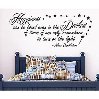 G Direct Autocollant murale de 100 par 55 avec citation inspirant de Harry Potter Happiness Can Be Found Dumbledore