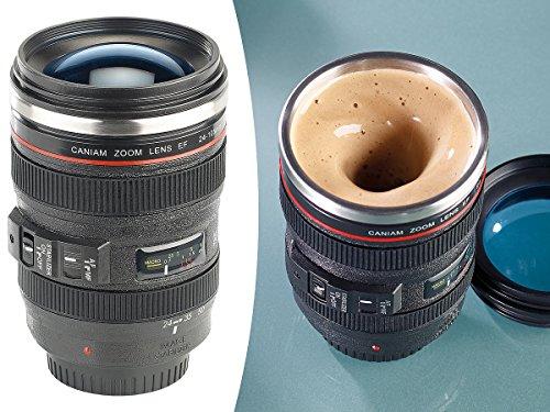 Somikon Objektiv Tasse: Kameraobjektiv-Thermobecher mit batteriebetriebenem Rührwerk, 220 ml (Selbstrührende Tasse)