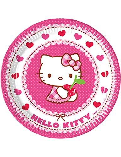8 Assiettes en carton Hello Kitty 23 cm - taille - Taille Unique - 235115
