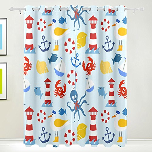 coosun Nautisches Muster Verdunklungsvorhänge Abdunkelung isoliert Polyester Tülle Top Rollo Vorhang für Schlafzimmer, Wohnzimmer, 2Panel (55W X 84L Zoll)