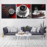 YXWLKG 3 Leinwandbilder Modulare Leinwand Bild Wandkunst 3 Stücke Kaffee Poster Tassen herzförmigen Bohnen Cafe Shop Malerei Küche Decor