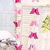Qiyun 3D Carta Farfalle Decorazioni,decorazioni festone per matrimonio compleanno battesimo Natale Halloween laurea nascita rosa