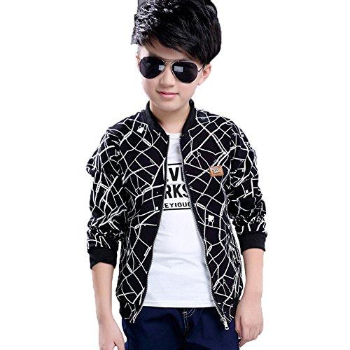 Kind Junge Kleidungs Mantel Jacke Outwear Herbstgeld Kurzer Windbreaker Mode Freizeit Drucken Manica Lunga Decklack Persönlichkeit Polyesterfaser Tops ZYS , black , 150cm