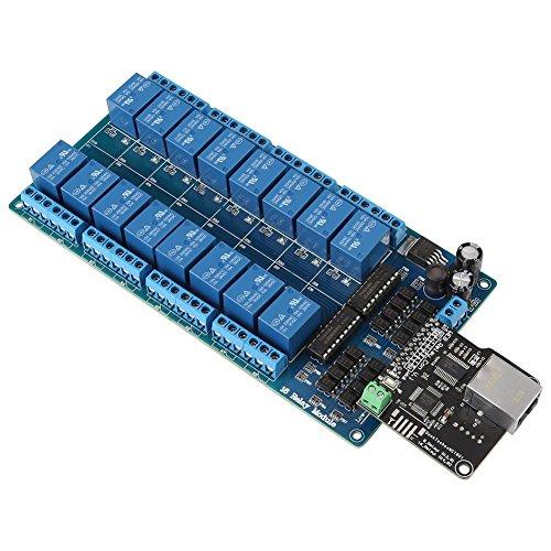 1 Stück Netzwerk Ethernet Relaisteuerungssteuerung Modul Board LAN WAN Netzwerk WEB Server mit RJ45 Schnittstelle + 16 Kanal Relais für Smart Home Fernbedienung