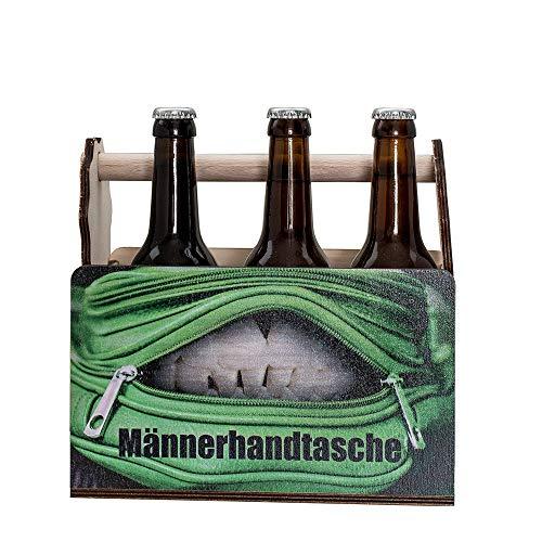 HC-Lasergravur 6er Bierträger Flaschenträger Männerhandtasche aus Holz ✔ 6er Träger Bier-Geschenk ✔ Bierträger auch mit Namen ✔ Träger für Bierflaschen✔ lustige Bierträger ✔ Mannerhandtasche für Bier - Bier Leere Flaschen