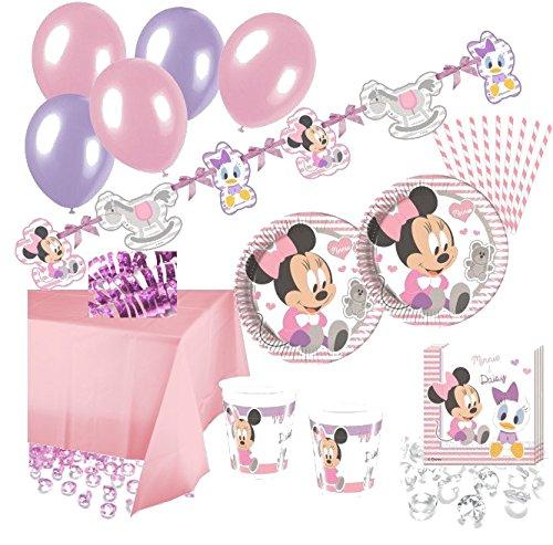 97 Teile Disney Baby Minnie and Friends Party Deko Set 8 Personen (Disney Baby Minnie Maus)