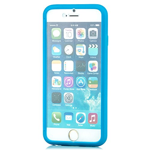 Saxonia iPhone 6 / 6S Hülle Silikon Case Schutzhülle Silikon Touch View Cover mit Fenster Blau Blau