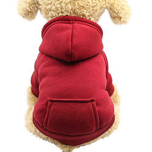 Lomire Ropa para Perros Pequeños, Abrigos Suéter de Algodón Caliente Suave con Capucha Traje Divertido de Invierno Otoño para Moscotas Cachorro Gatos,Rojo L