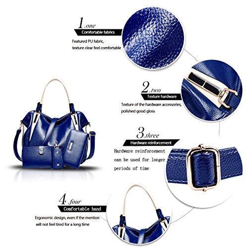 Sunas Cuoio dell'unità di elaborazione di alta qualità della borsa delle donne di retro 4 insiemi di sacchetto di spalla di modo delle borse del pendente blu