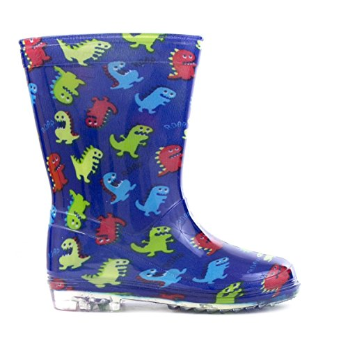 Image of Zone - Kids Blue Dinosaurs Wellington Boot - Size 9 - Blue