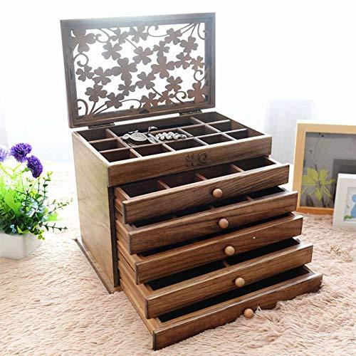 Jewelry storage box Hochwertige Holz Schmuck Aufbewahrungsbox, Schmuckschatulle, Schublade Schmuckschatulle, Europäischen Schmuck Ring Ohrringe Schmuck Aufbewahrungsbox,1 (Box Schrank-schublade-storage)