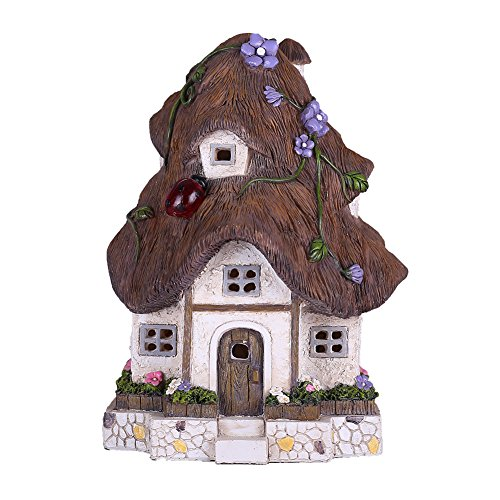 Hannah's Cottage 20cm Solar Powered Outdoor Decorativo da giardino Ornamento casa di resina resina casa sull'albero con luci a LED per la decorazione domestica (tetto marrone)