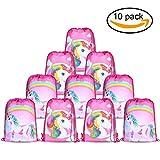 Konsait Unicorno modello Borsa da Coulisse Sacca da palestra carino zaino Gym Sacco Backpack per bambini ragazze regalo compleanno unicorni party - set di 10