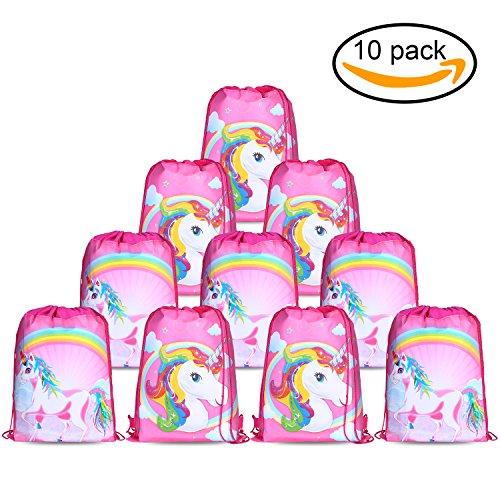 er Cute Kordelzug Rucksack Bag Turnbeutel für kinder Mädchen Frauen gym sack beutel Einhorn Geschenke party deko kindergeburtstag -Set von 10 (Bulk-rucksäcke)