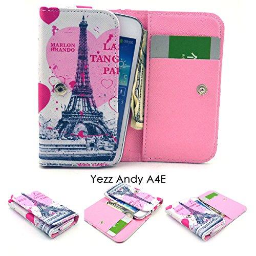 ZeWoo Etui / Portefeuille en Similicuir Pour Yezz Andy A4E (4 Pouces) Coque Housse Protecteur - (2#) La Tour Eiffel + Un Cœur Rose