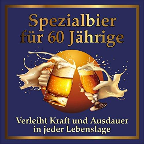 RAHMENLOS 3 St. Original Design: Selbstklebendes Bier-Flaschen-Etikett zum 60. Geburtstag. (Geburtstag Design 60 Ideen)