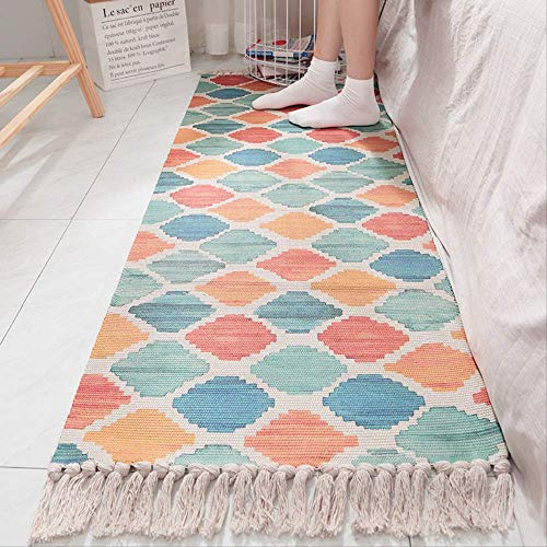 Leinen Oval Teppich (SMEI Baumwolle Leinen Wohnzimmer Nachtteppich Geometrische Indische Teppich Gestreift Druck Moderne Matte Marokko Design Nordischen Stil Mit Quaste 60x150CM 2)