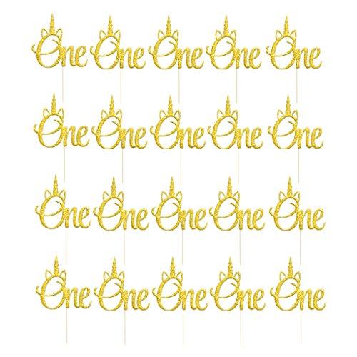 Gazechimp 20pcs Glitzer Einhorn Kuchendeko Kuchendeckel Tortendeko für Baby 1. Geburtstagsfeier - Gold