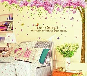 XXL! motivo: Huge Sakura Cherry Blossom albero con fiori di ciliegio adesivi da parete, grandi, colore: verde, elegante, colore: verde foglie di soggiorno da parete, Adesivi da parete per camera da letto Verde